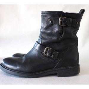 J. Crew Shoes - J. Crew Black Leather Moto Style Biker Boots